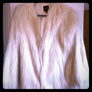 Lane Bryant ivory faux fur coat